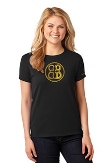 Ladies Buoncristiani Logo Shirt - Black with Gold Logo