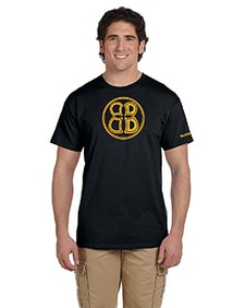 Mens Buoncristiani Logo Shirt - Black with Gold Logo