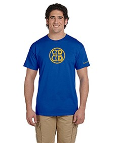Mens Buoncristiani Logo Shirt - Blue with Gold Logo